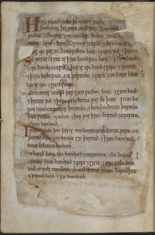 A page of notes in Old English added to a 12th-century manuscript.