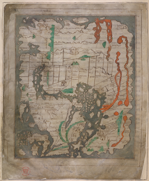 A mappa mundi from an 11th-century miscellany.