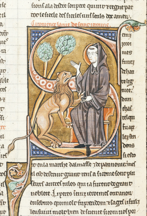 A detail from a 13th-century collection of saints' lives, showing a portrait of St Jerome as a monk removing a thorn from the paw of a lion.