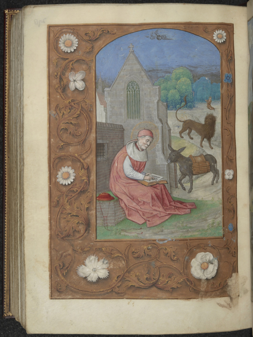 A page from the Hastings Hours, showing an illustration of St Jerome reading.