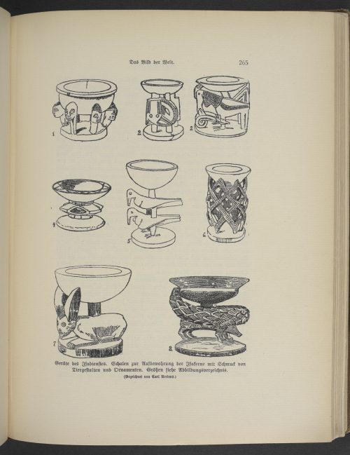 Ifá divination cups. Published in Und Afrika sprach (The voice of Africa), an account of a 1910–12 expedition to Nigeria led by the German ethnographer and archaeologist Leo Frobenius. With numerous illustrations by Carl Arriens. Leo Frobenius, Und Afrika sprach, vol. 1 (Berlin, 1912, 13). British Library, 10094.pp.9.