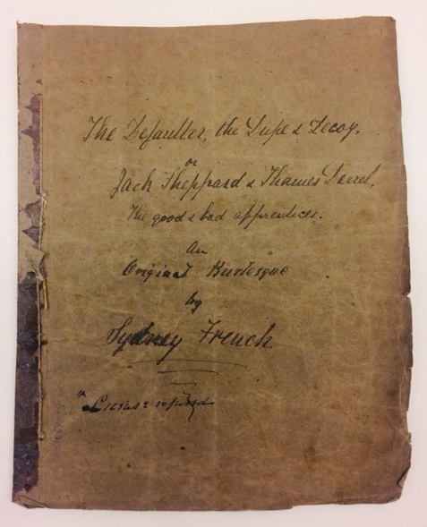 Front page of 'Jack Sheppard' by Sydney French