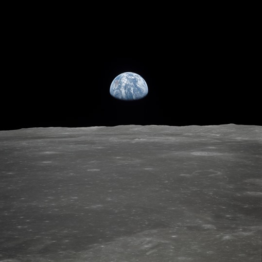 Earth Rising over the Moon's Horizon, Credit: NASA