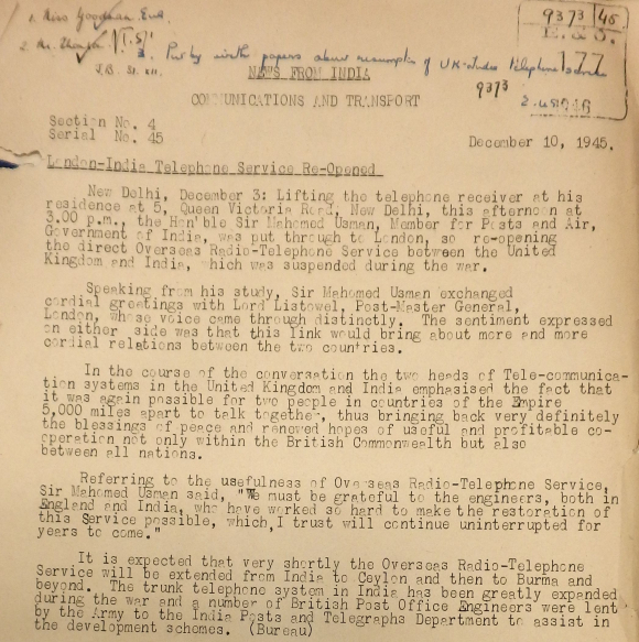 Document stating that the London-India Telephone Service had re-opened