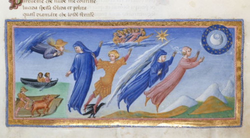 A detail from a manuscript of the Divine Comedy, showing an illustration of Dante and Beatrice flying towards the Moon.