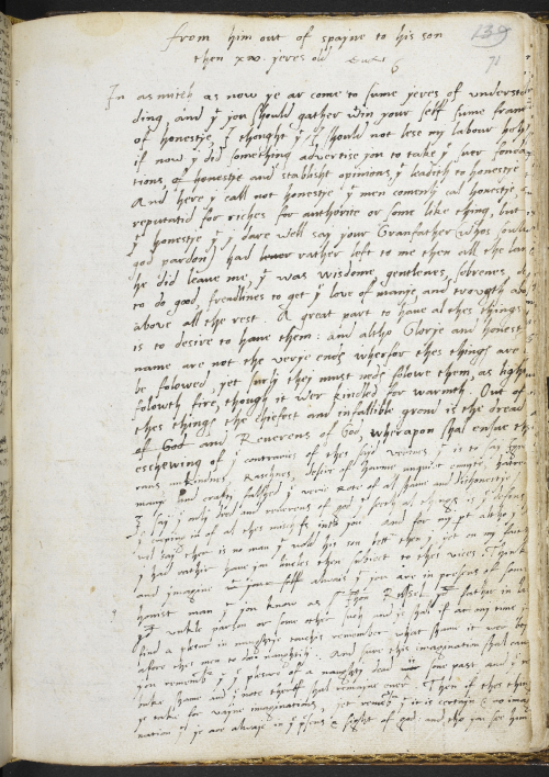 A page from a collection of the poetry of Sir Thomas Wyatt, showing a letter added into the manuscript by Wyatt's son.