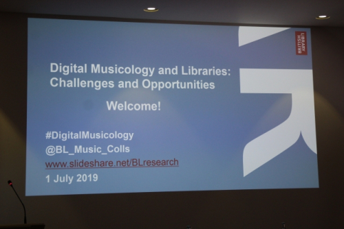 Digital Musicology study day welcome slide