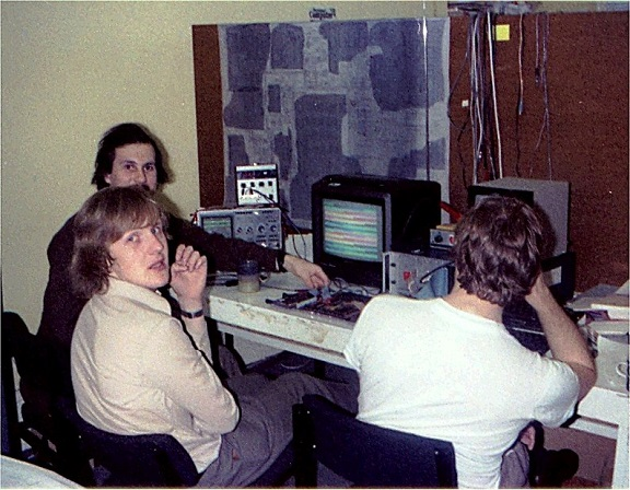 Photograph of Steve Furber working at a computer in the early 1980s