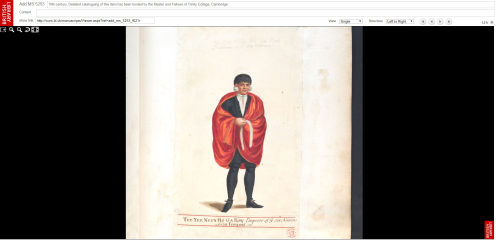 Screen grab from British Library website showing Tee Yee Neen Ho Ga Row portrait
