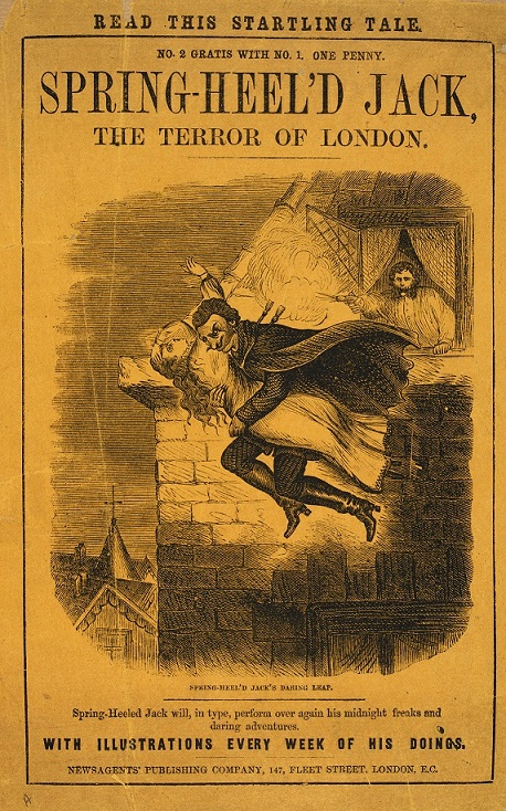 Cover of Spring-heel'd Jack: the Terror of London. The image shows Jack jumping from a window with a woman in his arms.