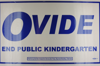 Placard reading 'Ovide End Public Kindergarten'
