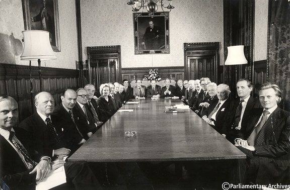 Photograph of a meeting of the shadow cabinet in 1977