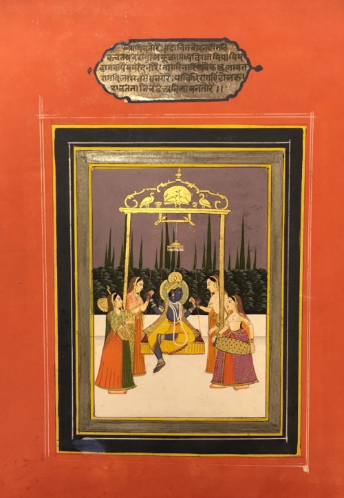 Rag Hindol; Krishna surrounded by female musicians. Jaipur, c.1850 (BL Add. Or. 2856)