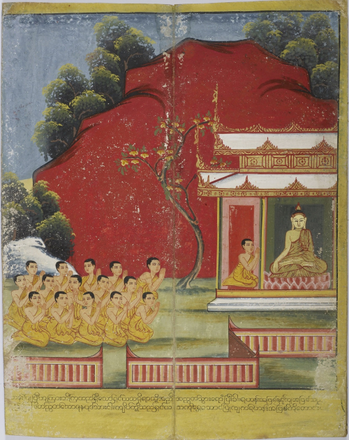 Yasa, the son of a rich man, joins the monkhood to become the sixth bhikkhu after the Buddha's five chief disciples. Fifty of Yasa's friends followed his example and joined the Sangha. Burmese manuscript, 19th century. British Library, Or 14553, f. 2