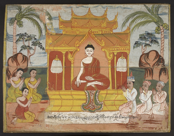 During the rainy season retreat, vassa, the Buddha stayed in one place of residency to teach the Dhamma. The rains retreat is a three-month period (July to October) where the Buddha did not travel from one location to another. The Buddha ordered his disciples to avoid travel for this three-month period during the rainy seasons. Burmese manuscript, 19th century. British Library, Or 14823, f. 29
