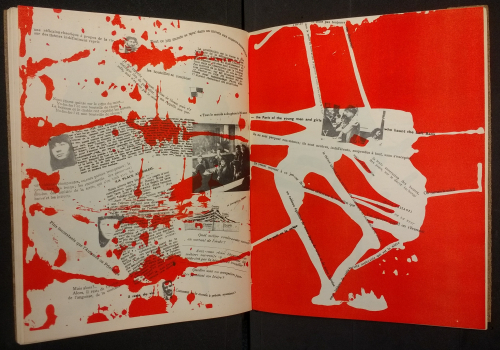 Double-page spread from Mémoires featuring fragments of text and photographs with red splodges