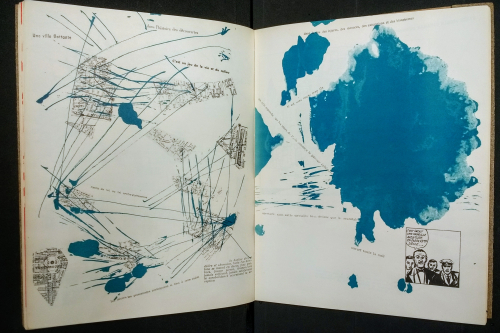 Double-page spread from Mémoires with fragments of maps struck through with blue lines, facing a nebulous blue splodge