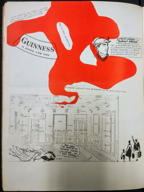 A page from from Mémoires featuring fragments of text, including a 'Guinness is good for you' advertisement. There is a large red splodge covering some of the fragments