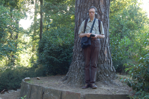 Man standing next to a tree, wearing headphones and listening to a sound walk experience