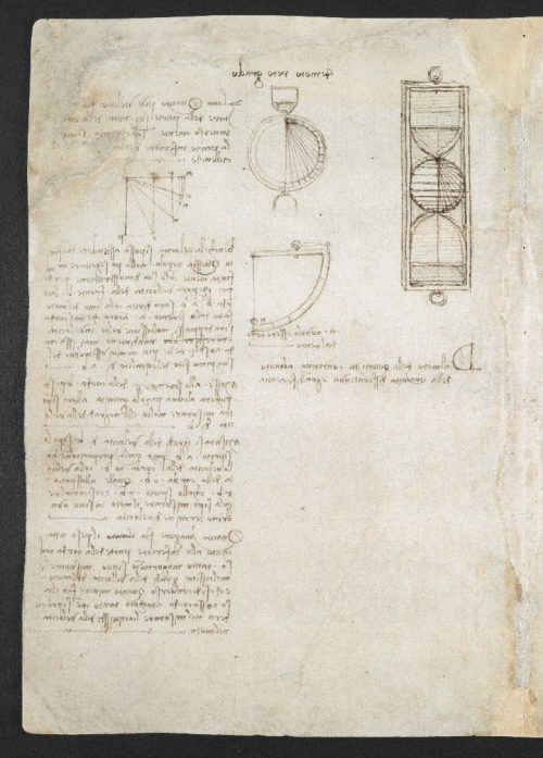 A page from Leonardo da Vinci's notebook, showing drawings and designs for some of his inventions and his handwritten notes