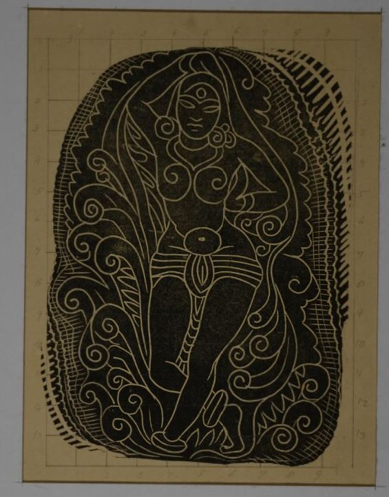 A dancing figure, white lines on a black ground