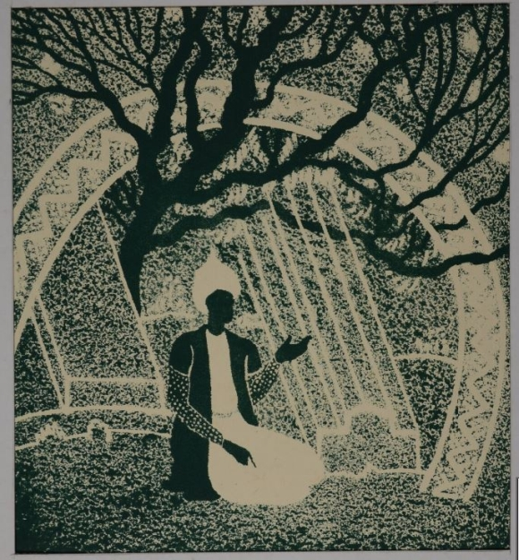 Picture of a kneeling man under the branches of a tree