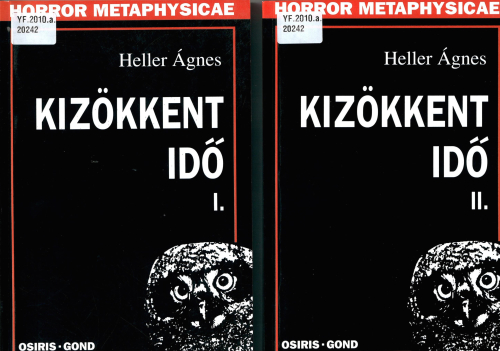 Covers of Parts I and II of The time is out of joint: Shakespeare as philosopher of history by Ágnes Heller, featuring an owl