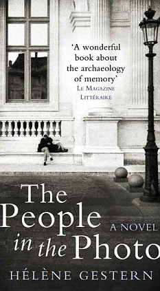 Cover of The People in the Photo by Hélène Gestern, featuring a figure sitting on a bench