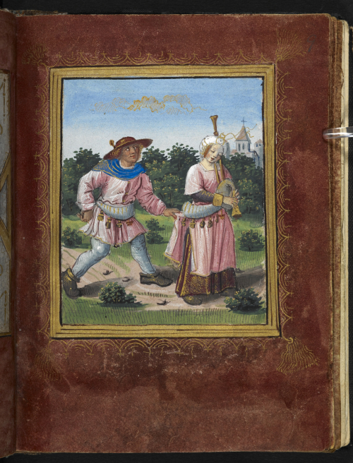 Miniature of a man and a woman playing the bagpipes