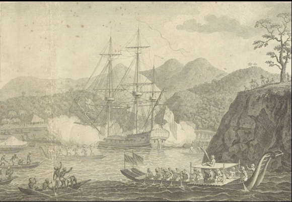 Attack on the Dolphin by natives of Otaheite