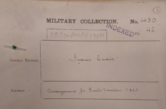Cover of  file on Easter vacation arrangements for Indian gentleman cadets at the Royal Military College Sandhurst in 1920