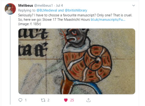 Melibeus tweet: 'Seriously? I have to choose a favourite manuscript? That is so cruel. Here we go: the Maastricht Hours'