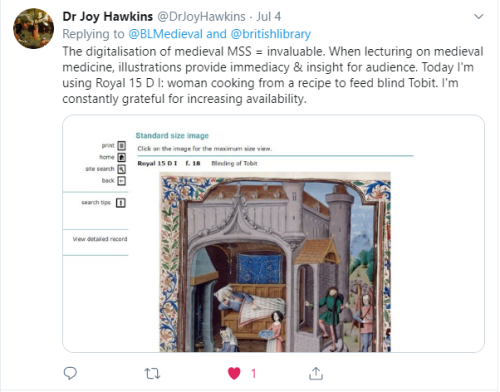 Dr Joy Hawkins tweet: 'The digitilastion of medieval manuscripts is invaluable. Today I'm using Royal 15 D I'