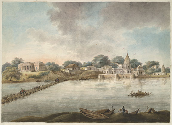 Bridge of boats across the Ganga at Kanpur and Major Gilbert's house. By Sita Ram, 1814-15.  BL Add.Or.4747