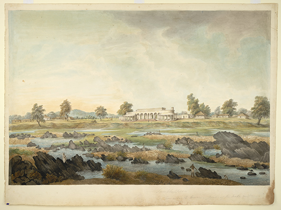 The Gilberts' bungalow at Sambalpur on the bank of the Mahanadi. By the 'Gilbert artist', 1825-27. BL Add.Or.2517