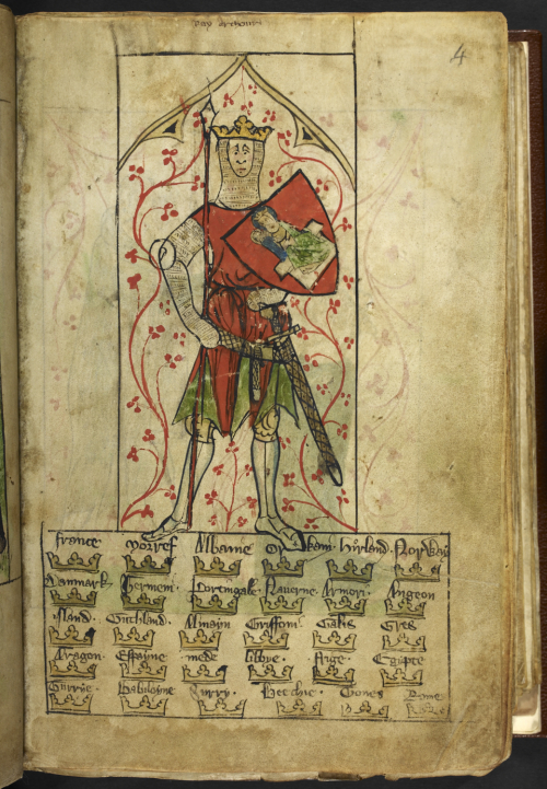 Medeival manuscript showing a picture of King Arthur as a knight, wearing chainmail with a sword, shield and lance