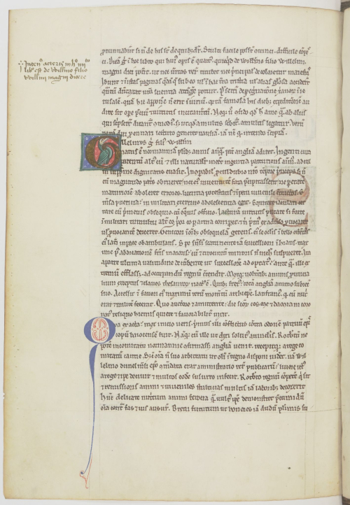 A page of text in a medieval manuscript, including a decorated initial containing a bird