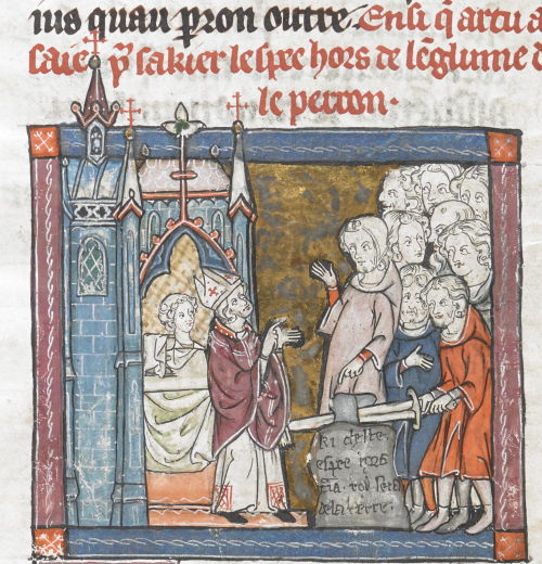 Medieval manuscript showing a group of people gathered outside a church, with Arthur pulling the sword from the stone