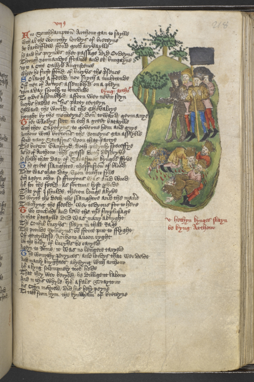Medieval manuscript with a picture of King Arthur and his followers over a pile of dead bodies