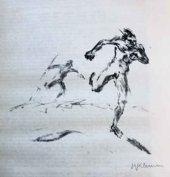 Lithograph of running figures by Walther Klemm