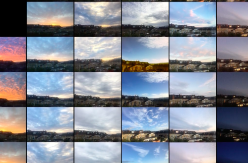 Screenshot from 'Mr Sky' by Sarah Tremlett showing images of various skies in grid formation
