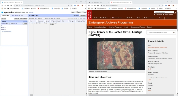 On the left Open Refine software, on the right the Lanten project page on the EAP website.