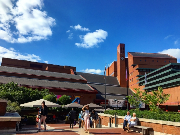 The front of the British Library on a sunny day.