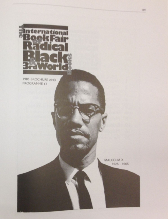 Programme of International Book Fair of Radical Black and Third World Books 1985 featuring photograph of Malcolm X