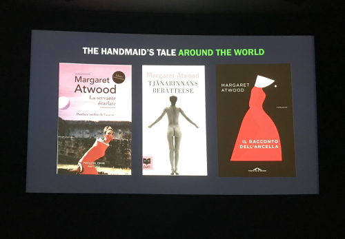 A slide from the event showing book covers of The Handmaid's Tale from around the world