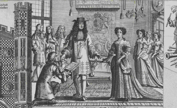 John Ogilby presenting a book of subscriptions for a survey to Charles II and his queen