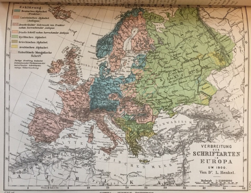 Map showing European countries using Roman and Gothic script in the late 19th century