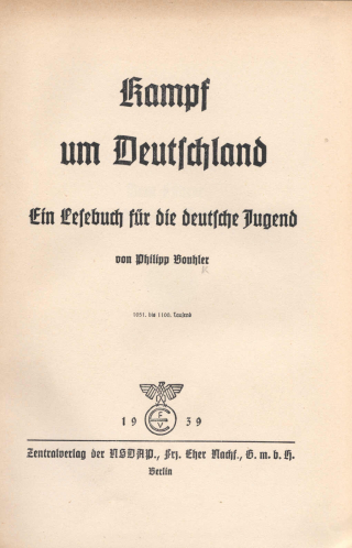 German title-page from 1939 in Fraktur type