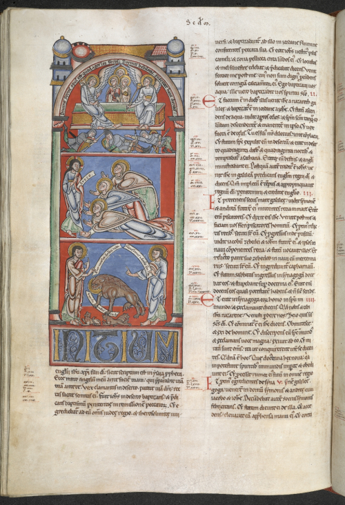 The beginning of a text with a miniature of three scenes contained inside a tall arched frame. The upper scene shows Christ's empty tomb, the middle scene shows three women kneeling before Christ, the lower miniature shows a lion with its cubs flanked by two prophets holding scrolls.