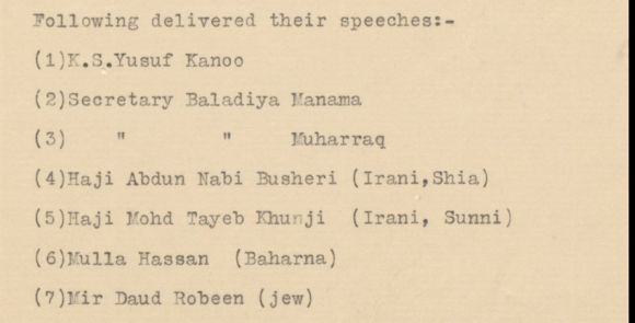 List of names of people delivering speeches
